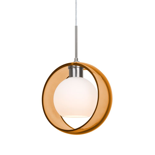 Mana Satin Nickel One-Light Pendant With Transparent Amber and Opal Glass