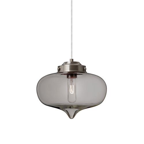 Mira Satin Nickel One-Light Pendant With Smoke Glass