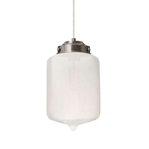 Olin Satin Nickel One-Light Pendant With Frost Glass