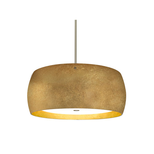 Pogo Satin Nickel Three-Light LED Pendant With Gold and Inner Gold Foil Glass