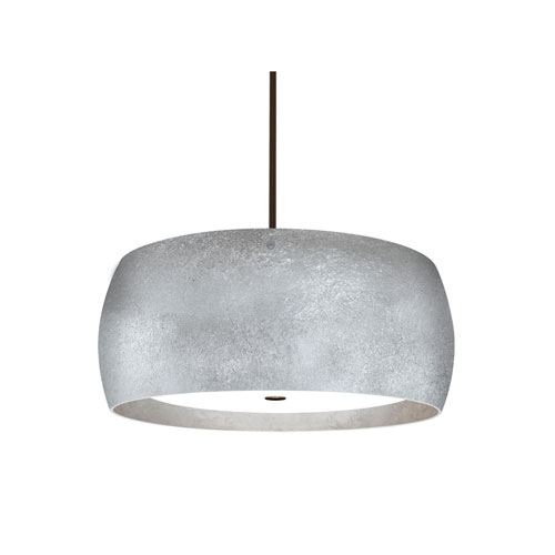 Pogo Bronze Three-Light LED Pendant With Silver and Inner Silver Foil Glass