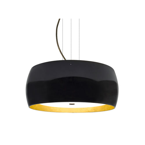 Pogo Bronze Three-Light Pendant With Black and Inner Gold Foil Glass