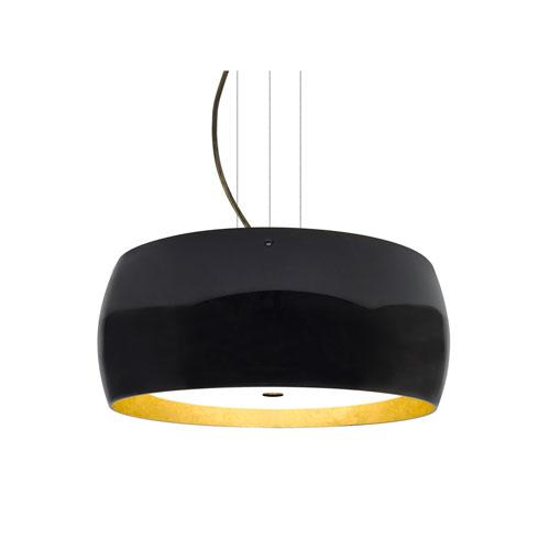 Pogo Bronze Three-Light LED Pendant With Black and Inner Gold Foil Glass