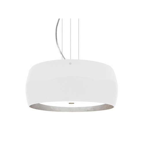Pogo Satin Nickel Three-Light LED Pendant With White and Inner Silver Foil Glass