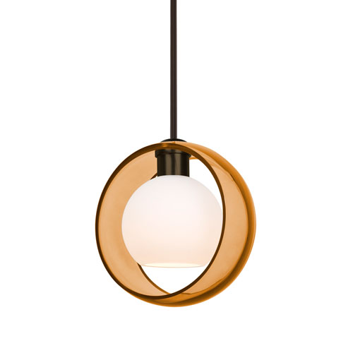 Mana Bronze One-Light Pendant With Transparent Amber and Opal Glass