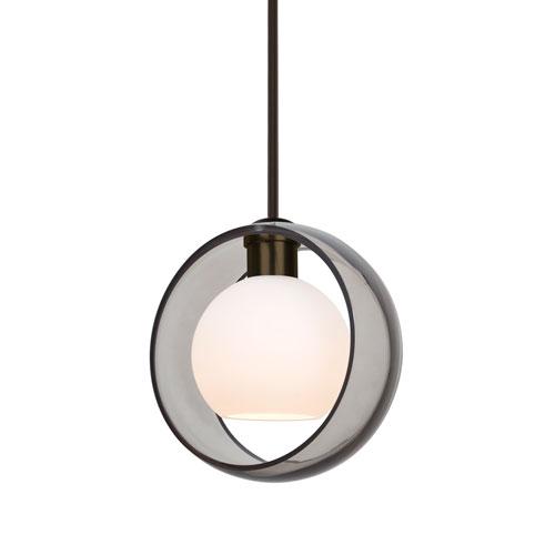 Mana Bronze One-Light Pendant With Transparent Smoke and Opal Glass