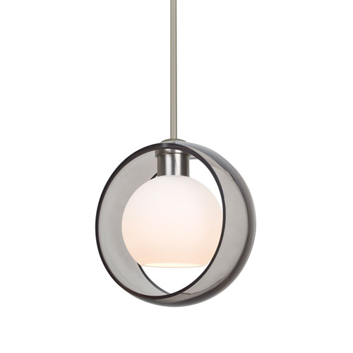 Mana Satin Nickel One-Light LED Pendant With Transparent Smoke and Opal Glass