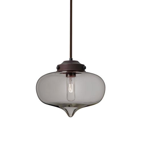 Mira Bronze One-Light Pendant With Smoke Glass