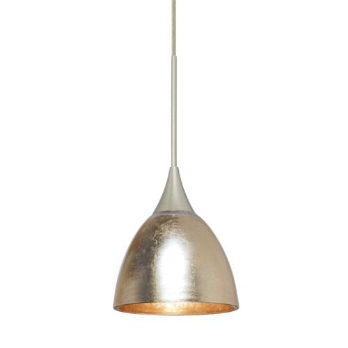 Besa Lighting Divi Satin Nickel One-Light Mini Pendant With Gold Foil Glass