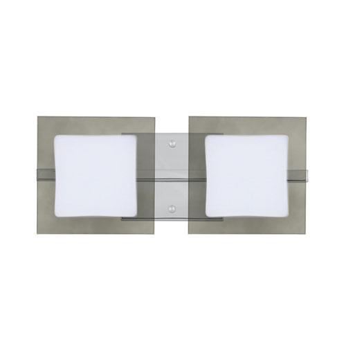 Alex Chrome Two-Light LED ADA Wall Vanity With Opal and Smoke Glass