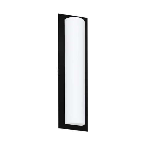 Barclay Black Three-Light Wall Sconce With Opal Matte Glass