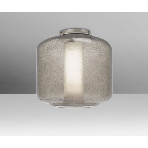 Niles Satin Nickel One-Light Flush Mount With Smoke Bubble and Opal Glass