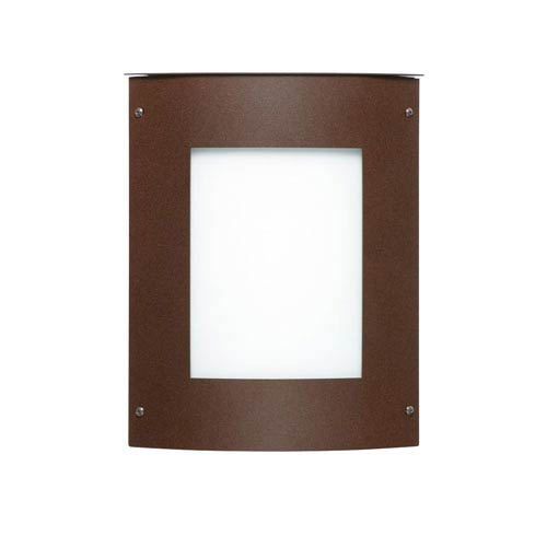 Besa Lighting Moto 8 Bronze One-Light Incandescent Square Outdoor Wall Sconce with White Acrylic Shade