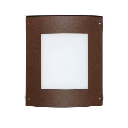 Besa Lighting Moto Bronze One-Light Incandescent Square Outdoor Wall Sconce with White Acrylic Shade