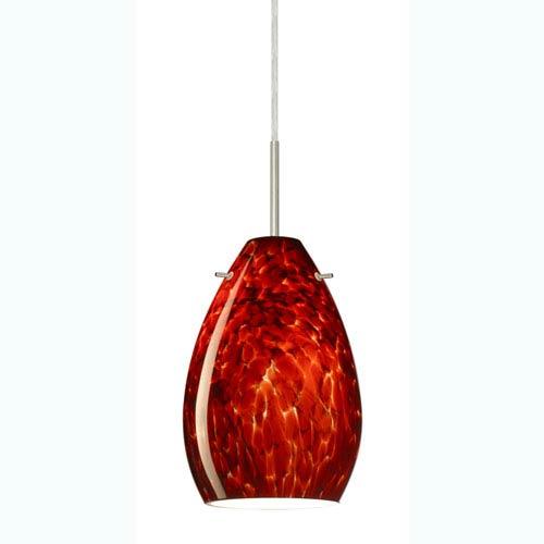 Pera 6 Satin Nickel One-Light Mini Pendant with Garnet Glass