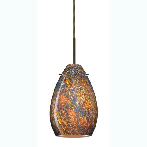 Pera 6 Bronze One-Light Mini Pendant with Ceylon Glass