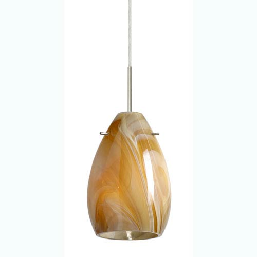 Pera 6 Satin Nickel One-Light Mini Pendant with Honey Glass