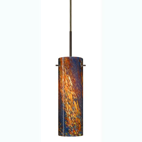 Copa Bronze One-Light Mini Pendant with Ceylon Glass
