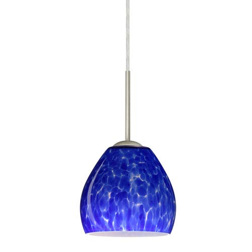 Bolla Satin Nickel One-Light LED Mini Pendant with Blue Cloud Glass