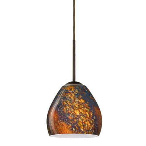 Bolla Bronze One-Light LED Mini Pendant with Ceylon Glass