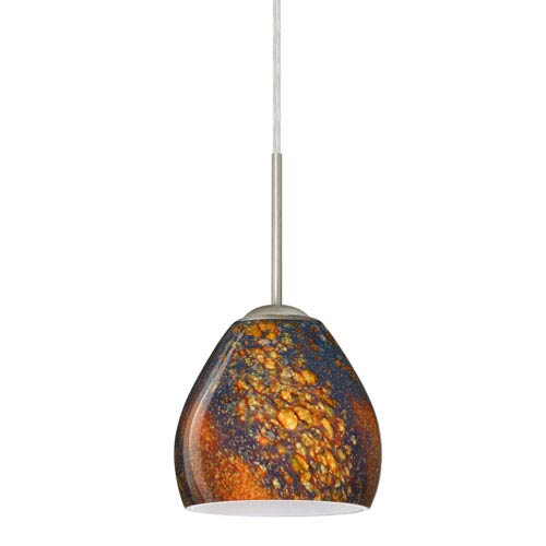 Brown mini pendant lighting bellacor bolla satin nickel one light led mini pendant with ceylon glass aloadofball Choice Image