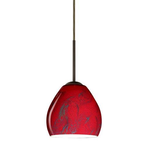 Bolla Bronze One-Light LED Mini Pendant with Magma Glass