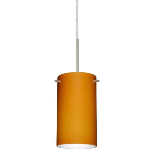 Stilo 7 Satin Nickel One-Light LED Mini Pendant with Amber Matte Glass