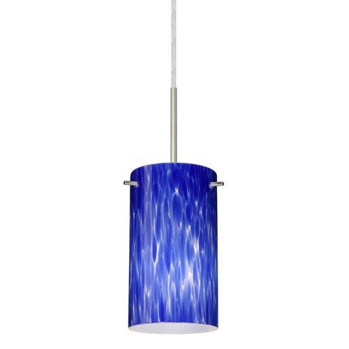 Stilo 7 Satin Nickel One-Light LED Mini Pendant with Blue Cloud Glass