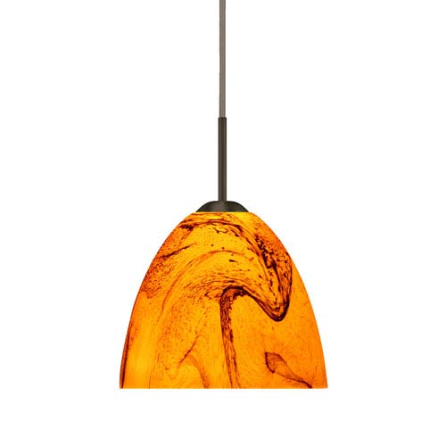 Sasha II Bronze One-Light LED Mini Pendant with Habanero Glass