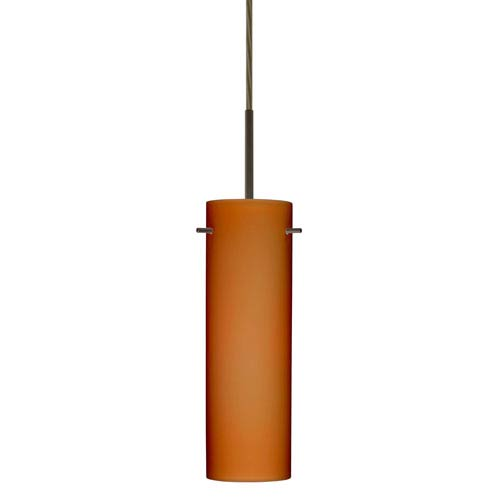 Copa Bronze One-Light LED Mini Pendant with Amber Matte Glass