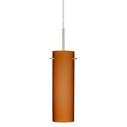 Copa Satin Nickel One-Light LED Mini Pendant with Amber Matte Glass