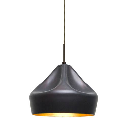 Lotus Bronze One-Light LED Mini Pendant with Gold Reflector Shade