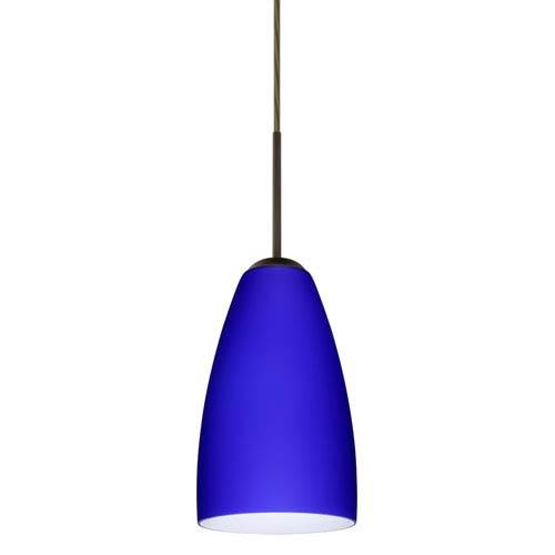 Riva 9 Bronze One-Light Mini Pendant with Cobalt Blue Matte Glass