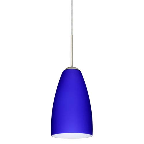 Riva 9 Satin Nickel One-Light Mini Pendant with Cobalt Blue Matte Glass