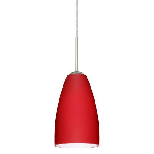Riva 9 Satin Nickel One-Light Mini Pendant with Ruby Matte Glass