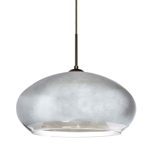 Besa Lighting Brio Bronze One-Light Flat Canopy 120v Midi Pendant with Silver Foil Glass