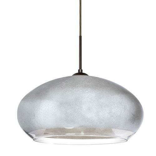 Besa Lighting Brio Bronze One-Light Flat Canopy 120v Midi Pendant with Silver Foil Glass