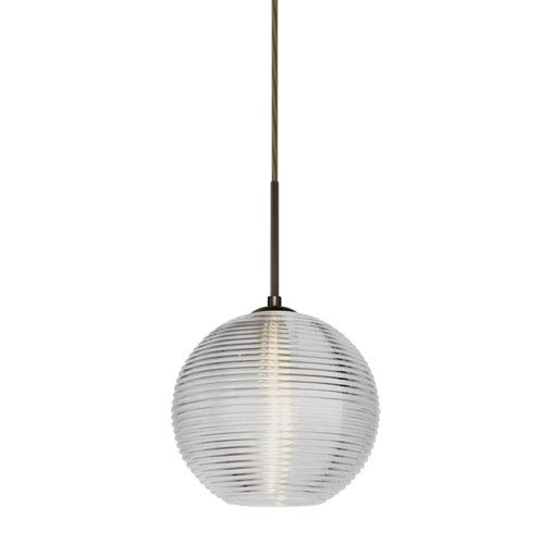 Besa Lighting Kristall Bronze One-Light Flat Canopy 120v Midi Pendant with Clear Glass