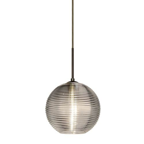 Besa Lighting Kristall Bronze One-Light Flat Canopy 120v Midi Pendant with Smoke Glass