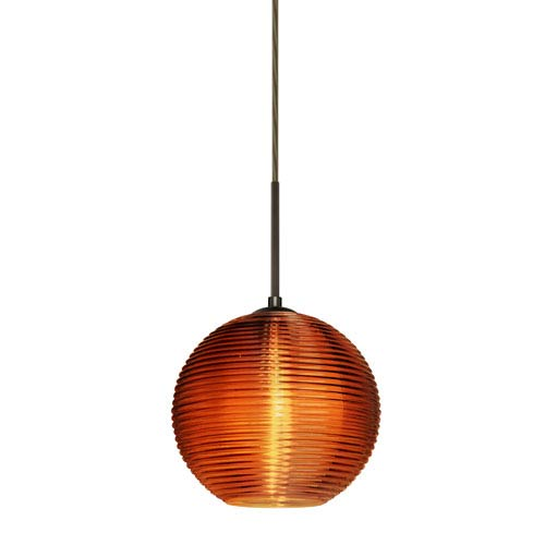Besa Lighting Kristall Bronze One-Light Flat Canopy 120v Midi Pendant with Amber Glass