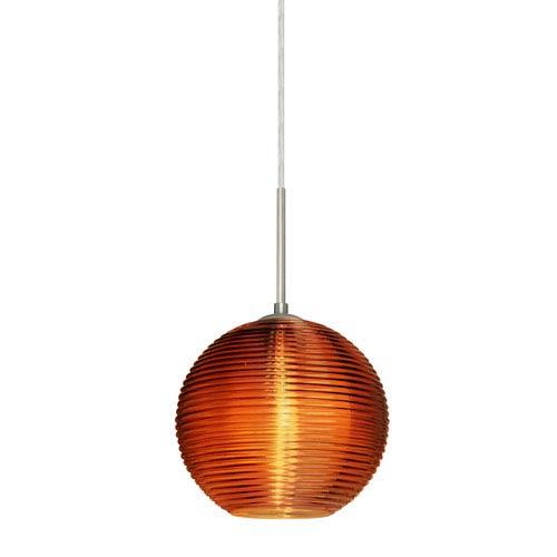 Kristall Satin Nickel One-Light Flat Canopy 120v Midi Pendant with Amber Glass