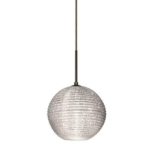 Besa Lighting Kristall Bronze One-Light Flat Canopy 120v Midi Pendant with Glitter Glass