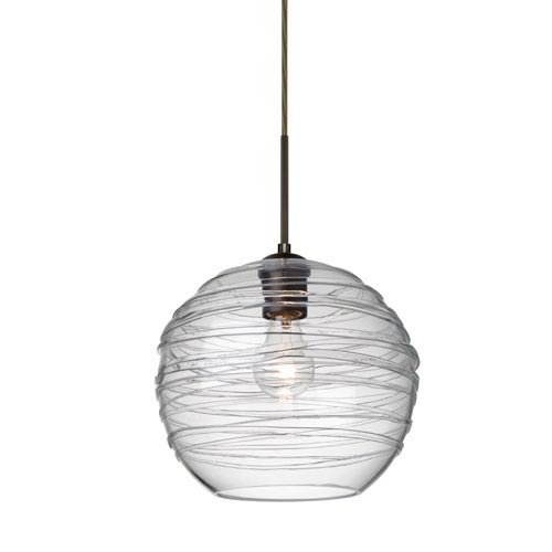 Besa Lighting Wave 10 Bronze One-Light Flat Canopy 120v Midi Pendant with Clear Glass