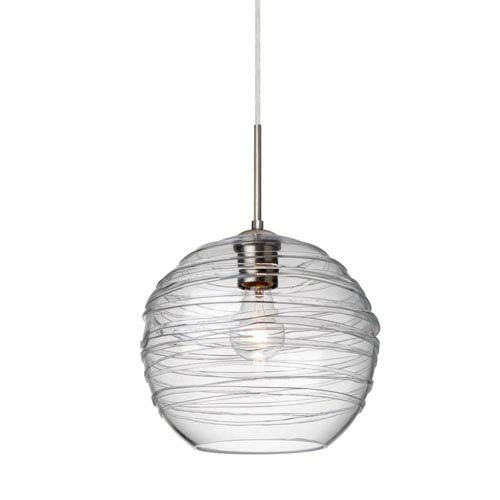 Besa Lighting Wave 10 Satin Nickel One-Light Flat Canopy 120v Midi Pendant with Clear Glass