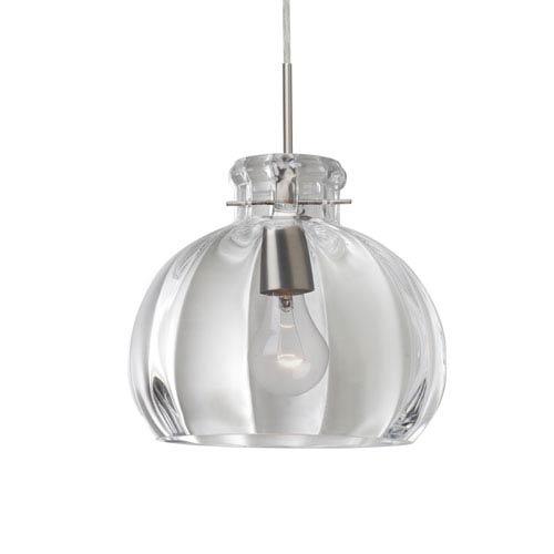 Besa Lighting Pinta Satin Nickel 10.25 Wide One-Light Flat Canopy 120v Midi Pendant with Clear Glass