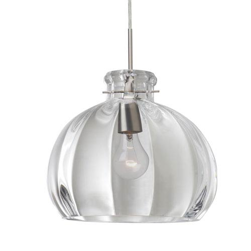Besa Lighting Pinta 12 Satin Nickel One-Light Flat Canopy 120v Midi Pendant with Clear Glass