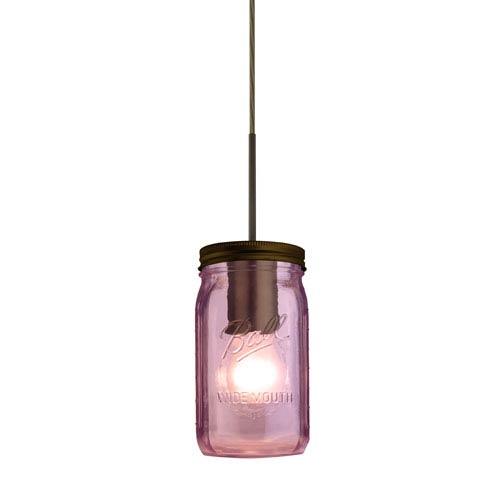 Besa Lighting Milo Bronze One-Light Flat Canopy 120v Midi Bell Jar Pendant with Purple Glass
