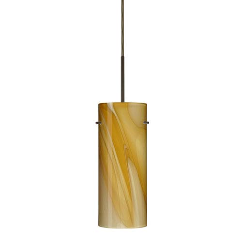 Stilo 10 Bronze One-Light LED Mini Pendant with Honey Glass, Flat Canopy