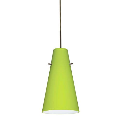 Cierro Bronze One-Light LED Mini Pendant with Chartreuse Glass