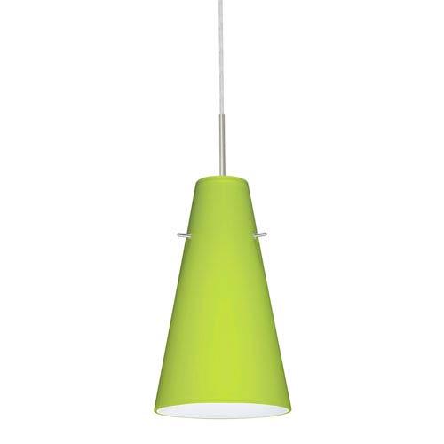 Cierro Satin Nickel One-Light LED Mini Pendant with Chartreuse Glass